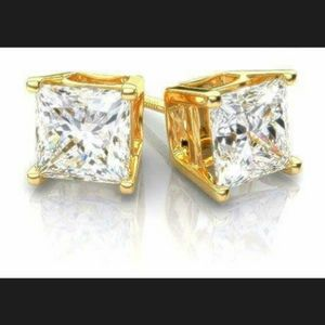 Other - New 14K Gold 1.5 ct Princess Cut Stud Earrings